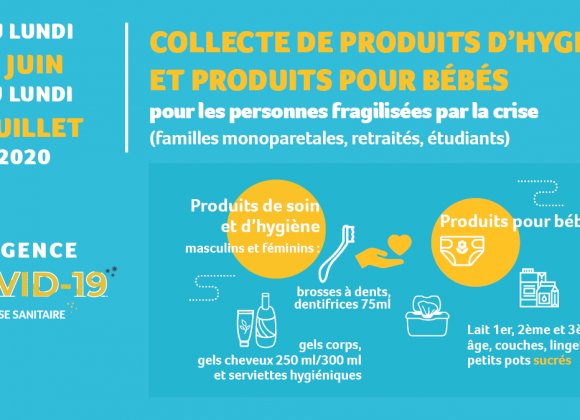 COVID 19 – CRISE SANITAIRE : Collecte de produits d'hygiène et produits bébé